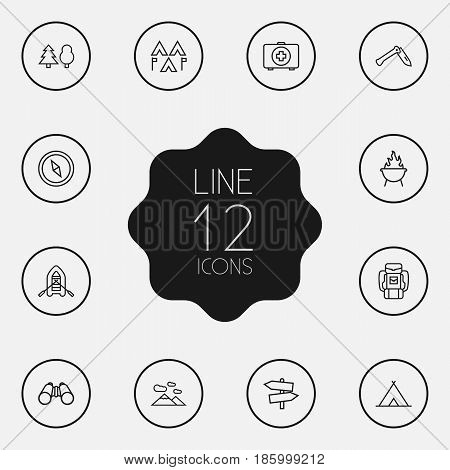 Set Of 12 Picnic Outline Icons Set.Collection Of Encampment, Baggage, Guidepost And Other Elements.