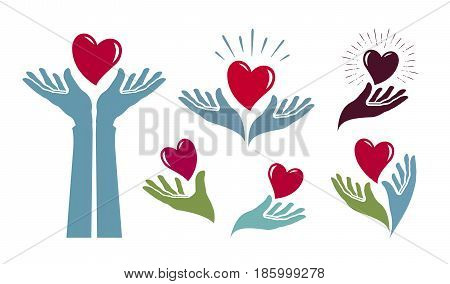 Charity, health logo. Medicine, hospital, life label or icon. Vector illustration isolated on white background