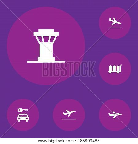 Set Of 6 Aircraft Icons Set.Collection Of Leaving, Air Traffic Controller, Letdown And Other Elements.