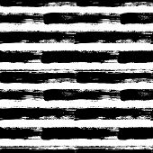Painted striped pattern. Seamless horizontal brush stroke lines. Sketchy hand drawn graphic print. Grunge vector design. Black and white background. Grungy wallpaper, furniture fabric, textile. poster