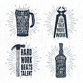 Hand drawn vintage badges set with textured thermo cup pincers hammer and whiskey bottle vector illustrations and inspirational lettering. poster