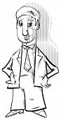Black and White Drawing Illustration of Businessman Character Caricature poster