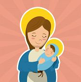 virgin mary holding baby jesus catholicism saint symbol image vector illustration poster