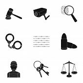 Set of images about the prison and prisoners. Surveillance of thieves, court, crime and punishment.Prison icon in set collection on black style vector symbol stock web illustration. poster