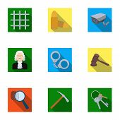 Set of images about the prison and prisoners. Surveillance of thieves, court, crime and punishment.Prison icon in set collection on flat style vector symbol stock web illustration. poster