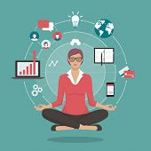 Businesswoman practicing mindfulness meditation she is clearing her mind releasing stressful thoughts and expressing her potential; yoga and self consciousness concept poster