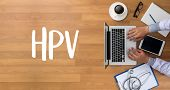 HPV CONCEPT Virus vaccine with syringe HPV criteria for pap smear slide cytology. poster
