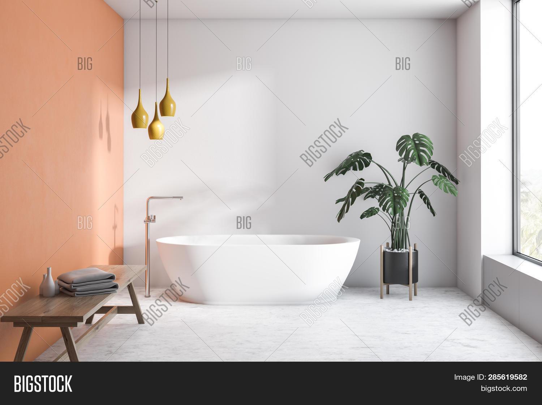 White Orange Bathroom Image Photo Free Trial Bigstock