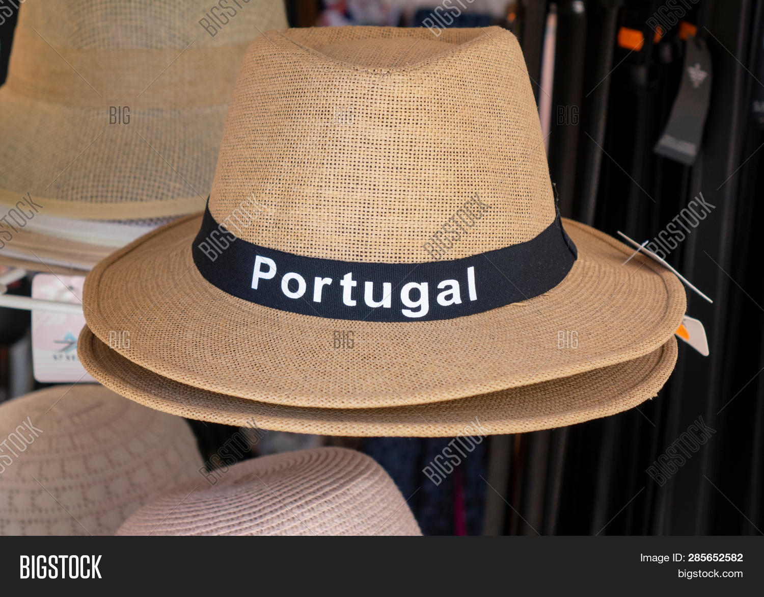 26e0eaf4521446 A Straw Panama Style Souvenir Sun Hat For Sale With Portugal On The Front  Display In