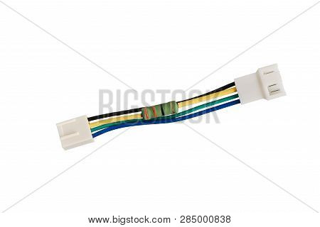 Noise Resistor Cable To Reduce Computer Fan Speed, Isolated On White