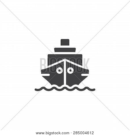 Ship Boat Vector Icon. Filled Flat Sign For Mobile Concept And Web Design. Cruise Ship Simple Glyph