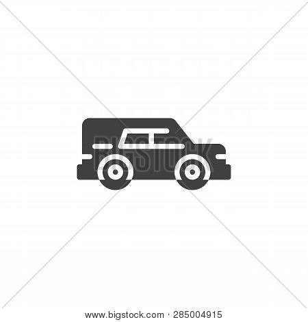 Hearse Car Vector Icon. Filled Flat Sign For Mobile Concept And Web Design. Funeral Hearse Car Simpl
