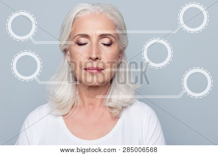 Close Up Portrait Confident Concentrated She Her Mature Woman Wrinkles Face Closed Eyes Nude Make Up
