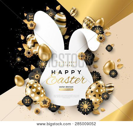 Easter Card With Bunny Rabbit Shape Frame, Spring Flowers And Gold Eggs On Modern Geometric Backgrou