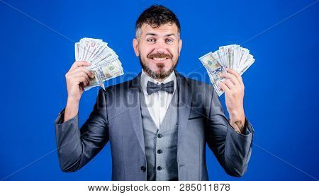 Finally Rich. Business Startup Loan. Currency Broker With Bundle Of Money. Bearded Man Holding Cash