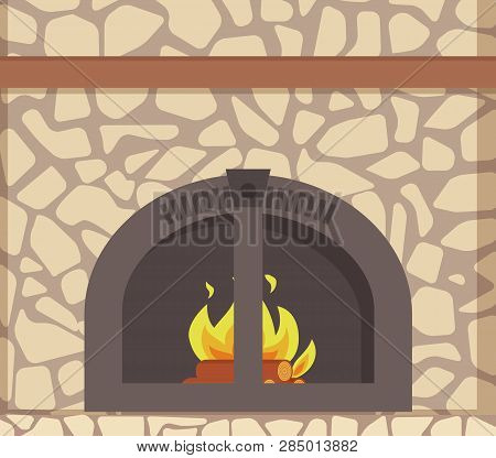Modern Stacked Stone Fireplace With Traditional Decoration And Metal Frame Material, Vector Closeup.