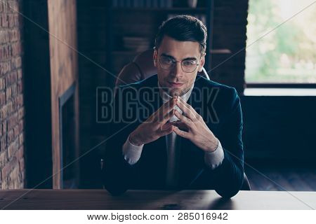 Portrait Of His He Nice Handsome Confident Rich Wealthy Stylish Trendy Classy Guy It Consulting Top