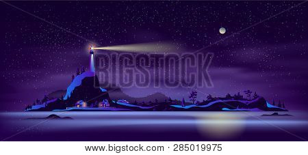 Night Landscape Of Remote Settlement On Island In Northern Sea Cartoon Vector In Neon Colors With Fa