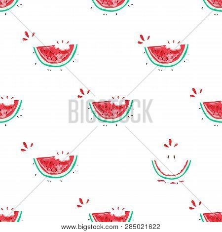Watermelon Seamless Pattern. Colorful Summer Background Design For Holiday Greeting Card And Invitat