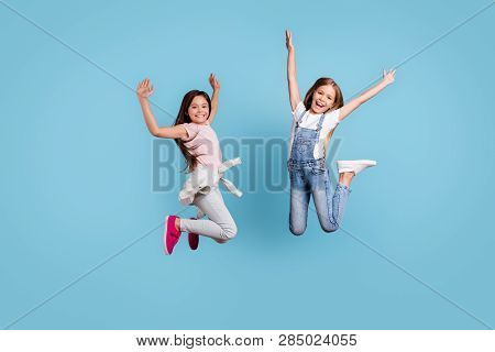 Full Length Body Size View Of Two People Nice Lovely Attractive Charming Cheerful Crazy Careless Str