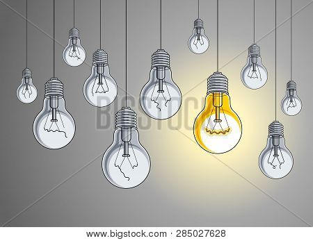 Light bulbs beautiful vector illustration with single one shining, idea concept, think different, stand out of crowd, creative inspiration. poster