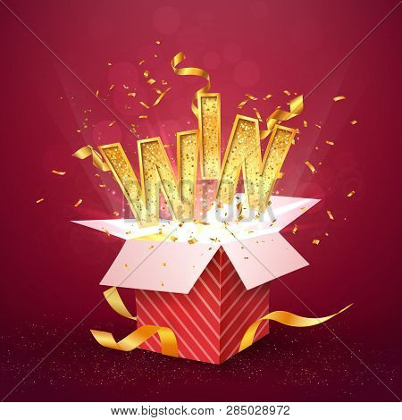 Win Gold Text Flies Out Of The Red Gift Box. Isolated Open Textured Red Box With Confetti Explosion