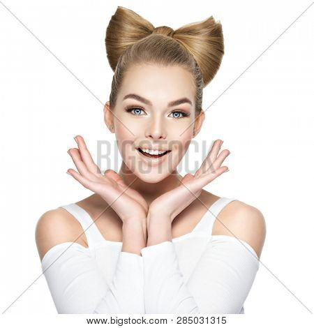Surprised face of a young woman with a style hairstyle. Excited Smiling girl,  isolated on white background.