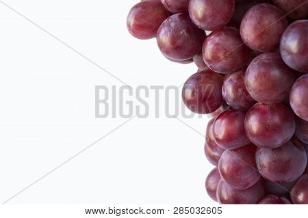 Grapes On White Background. Top View. Bunch Of Grape On White Background. Red Grape On The White Bac