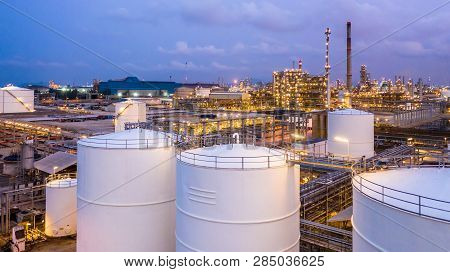 Storage Tank With Oil Refinery Plant And Petrochemical Plant.