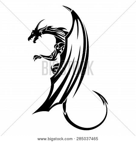 Vector Image Of A Black Dragon. Medieval Winged Monster. Symbol Of Wisdom And Force. Knights Hunter.