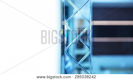 Glass, Mirror Reflection Shapes And Shadows. Close-up Details.  Abstract Geometric Design With Paral