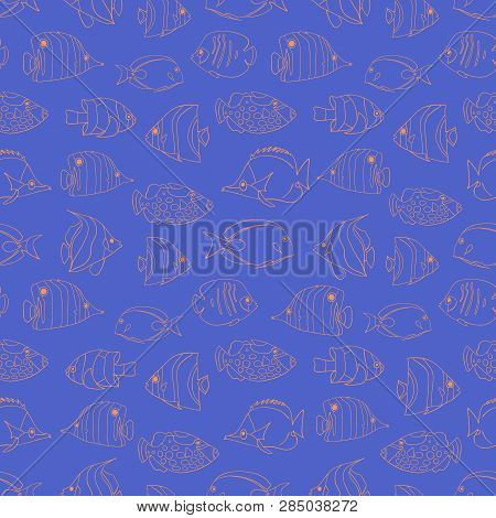 Seamless Vector Pattern Tropical Fish Coral On Blue. Swimming Butterflyfish, Clown Triggerfish, Dams