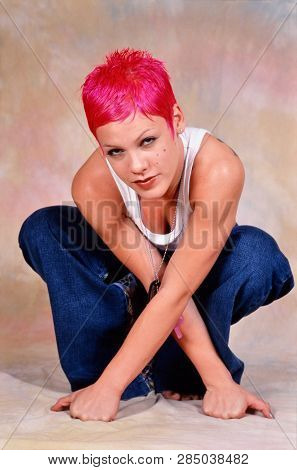 London, England - May 01, 2000: Singer Pink During A Photoshoot In London. Original Photo Is A Slide