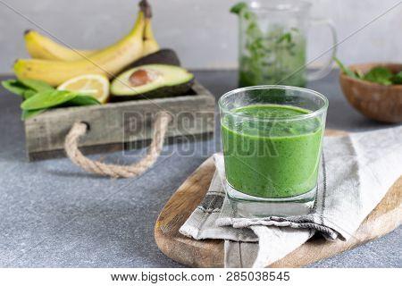 Spring Detox, Vegetarian Breakfast, Healthy Lifestyle - Green Superfood Spirulina Antioxidant Smooth