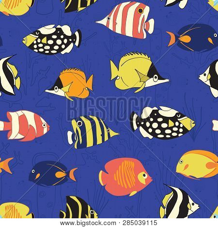 Tropical Reef Fish Seamless Vector Pattern. Swimming Colorful Fishes Background. Butterflyfish, Clow