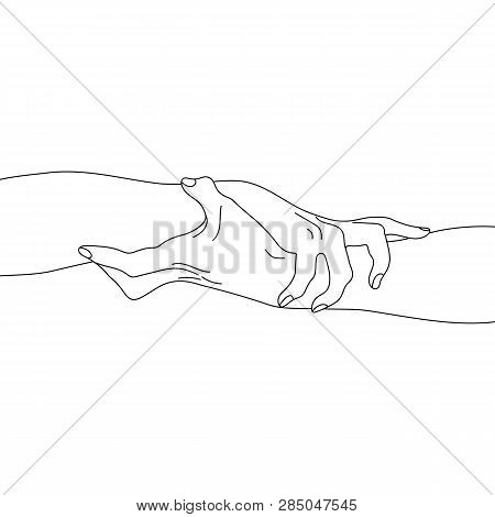 Holding Hands Isolated On White Background. Team, Partner, Alliance Concept. Outline Relationship Ic