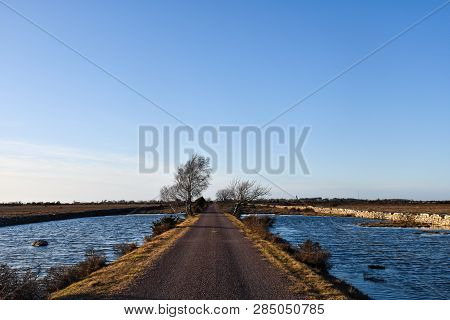 Beautiful Country Road By Spring Season Through A Flooded Landscape At The Swedish Island Oland