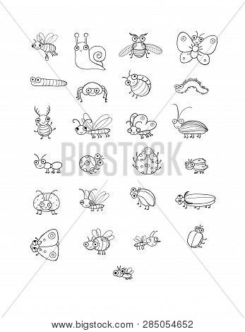 Cute Cartoon Insects. Funny Butterflies, Beetles, Flies, Mosquitoes And Snail. Vector