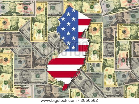 New Jersey With Flag And Dollars