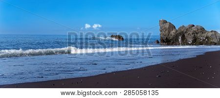 Beach Scene On Praia Formosa - Black Sand Beach On Portuguese Island Of Madeira