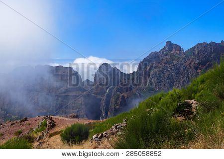 Mountain Range Scene From Pico Do Arieiro - Third Highest Mountain On Portuguese Island Of Madeira