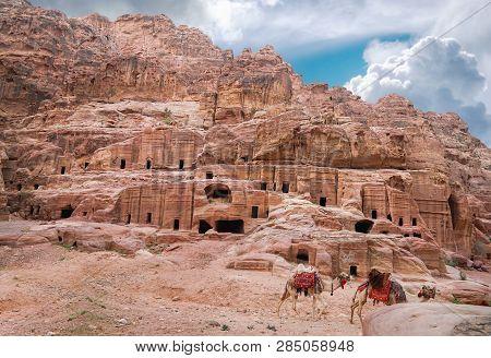 Ancient Abandoned Rock City Of Petra In Jordan