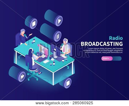 Radio Broadcasting Color Background With Announcer And Newscasters At Working Place Isometric Vector