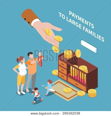 Social Security Unemployment Benefits Unconditional Income Isometric Composition With Human Hand Sha