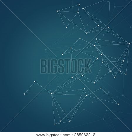 Abstract Connection Structure On Dark Background With Connecting Dots And Lines