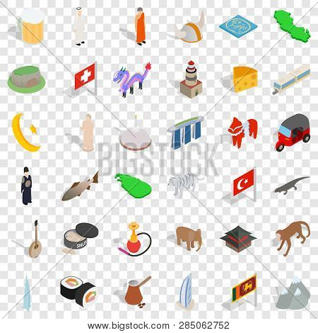 World Tourism Icons Set. Isometric Style Of 36 World Tourism Vector Icons For Web For Any Design