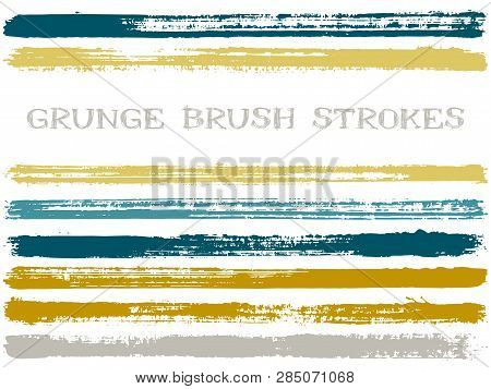 Gold Blue Ink Brush Strokes Isolated Design Elements. Set Of Paint Lines. Urban Stripes, Textured Pa