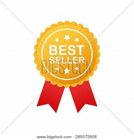 Best Seller Badge. Best Seller Golden Label. Retail Badge. Advertisement Symbol. Vector Stock Illust