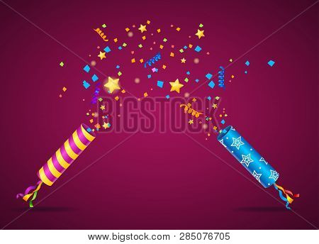 Realistic 3d Detailed Party Popper Card Poster Background. Vector
