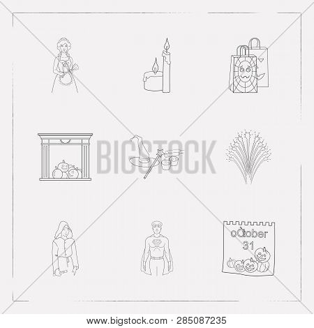 Set Of Witch Icons Line Style Symbols With Gift Paper Bag, Maid, Superman And Other Icons For Your W